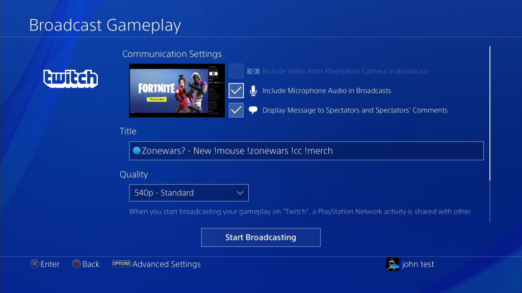 Set Stream Settings from PS4