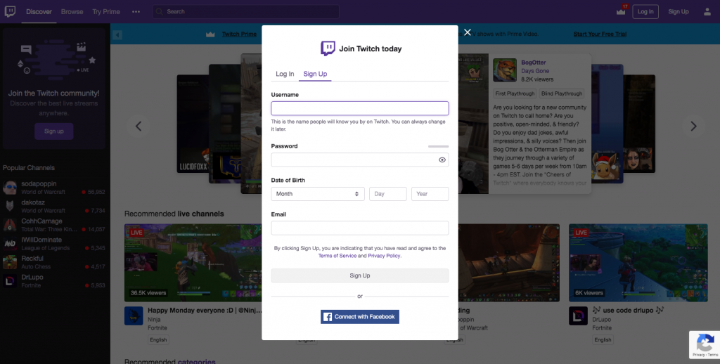 Create a Twitch account