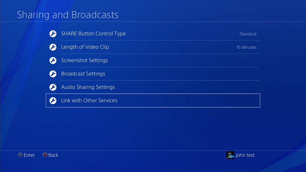 Link PS4 to other services